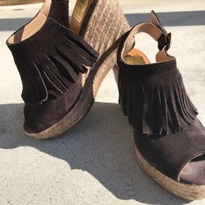 Kanna dark brown leather wedge sandals